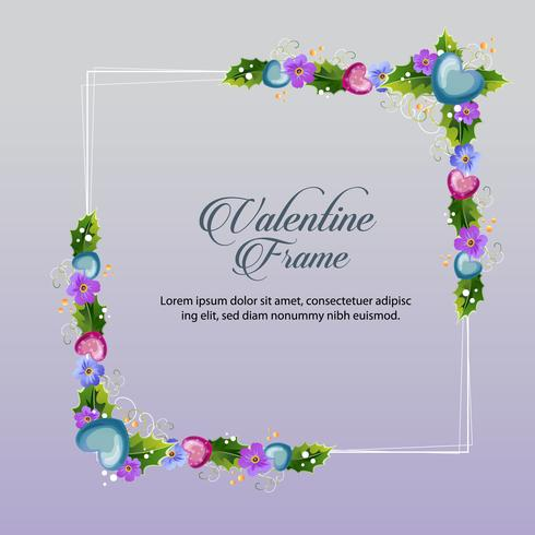 blue floral valentine frame