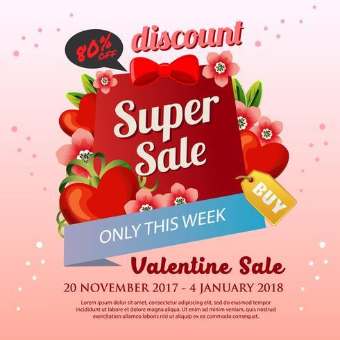carino poster di San Valentino con fiore rosso