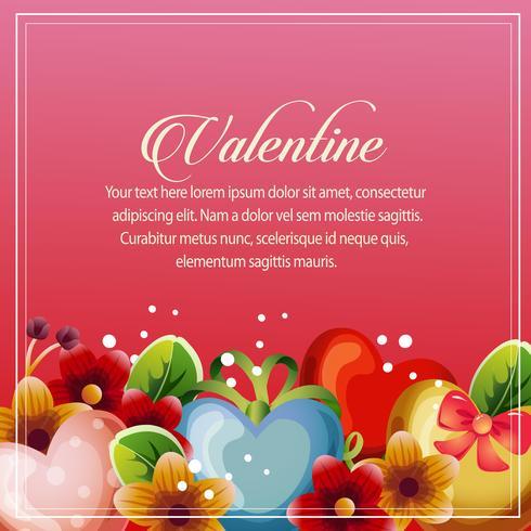 decoração floral de coração de cartão de dia dos namorados