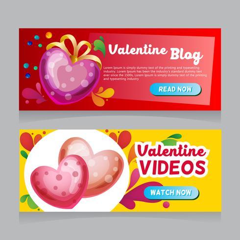 San Valentín corazón decoración web banner