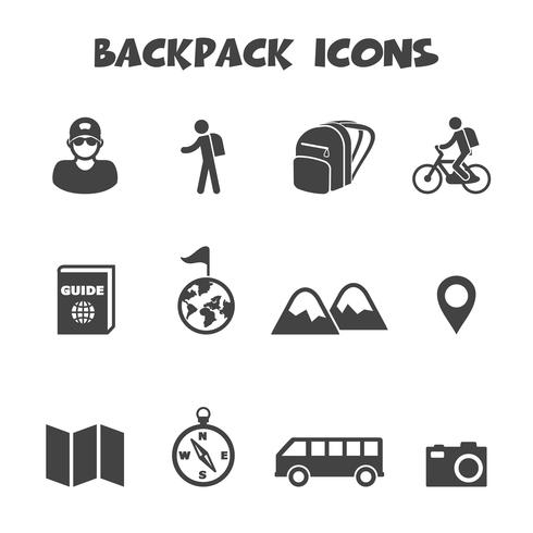 backpack icons symbol vector
