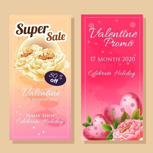 vente de bannière sur le thème de la Saint-Valentin avec une belle fleur