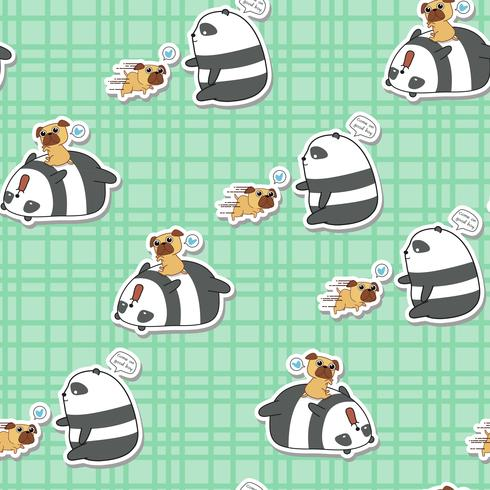 Panda sem emenda está jogando com padrão de cão. vetor