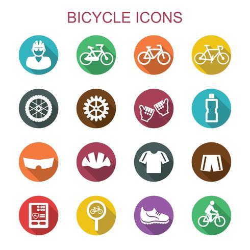 ícones de sombra longa de bicicleta vetor