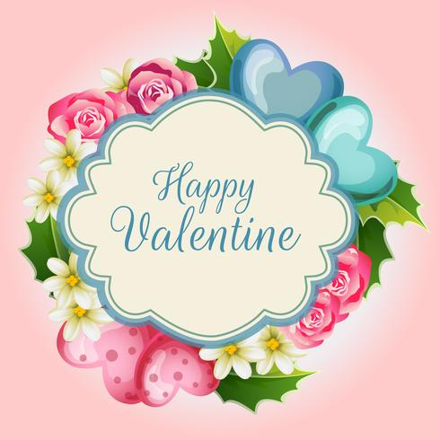 cartão de ilustração dos namorados com coração fofo vetor