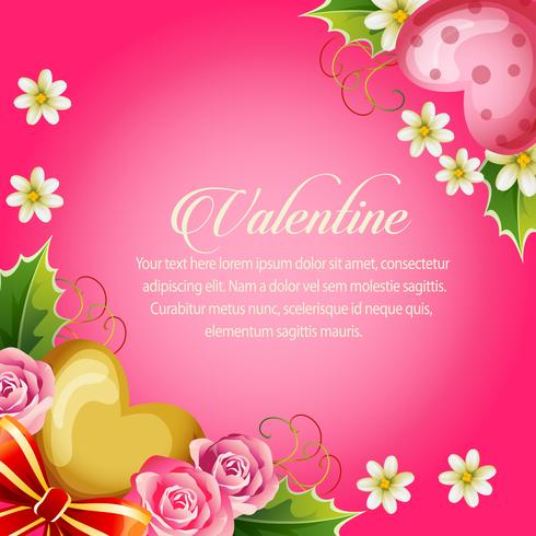 Ilustración de San Valentín con fondo rosa neón