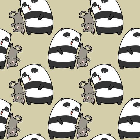 Seamless panda is catching cat pattern.