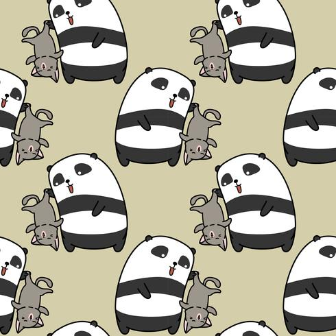 Seamless panda is catching cat pattern. vector