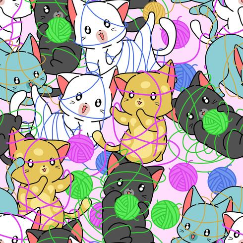 Seamless cats are naughty pattern. vector
