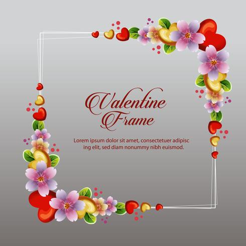 cute colorful floral valentine frame