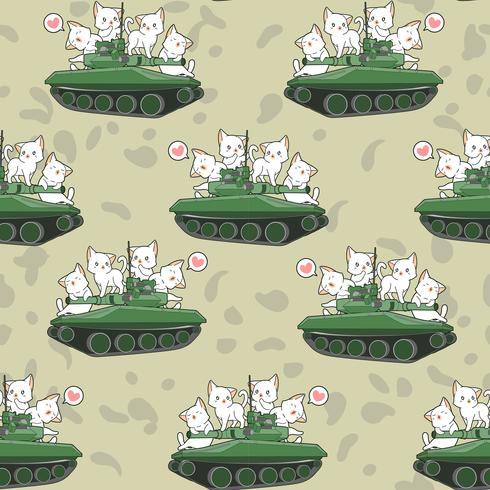 Seamless cute cats and war tanks pattern