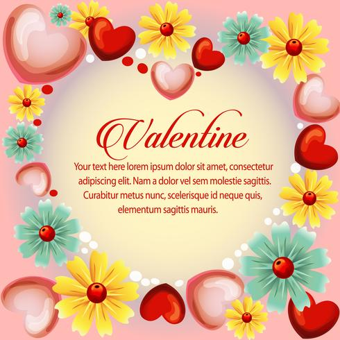 valentine heart shape with spring flower