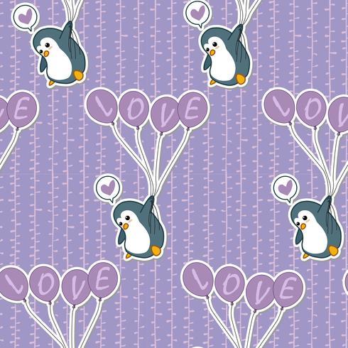 Pinguim sem costura está segurando o padrão de balão. vetor