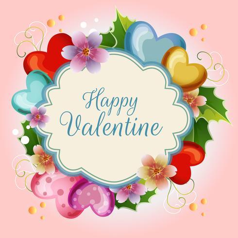 schattige bloemen valentijn illustratie kaart