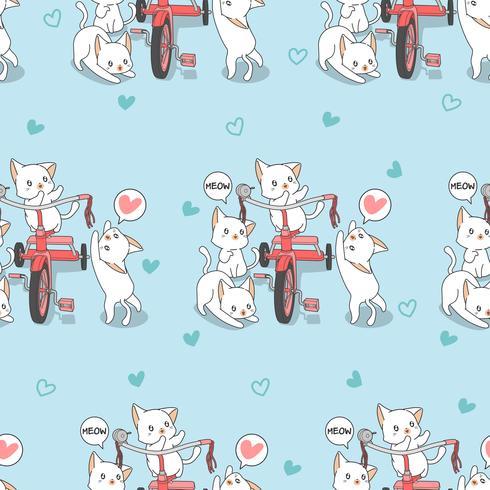 Nahtlose kawaii Katzen mit Dreiradmuster.