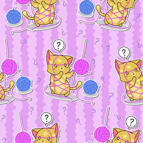 Seamless cute cat is doubting pattern.