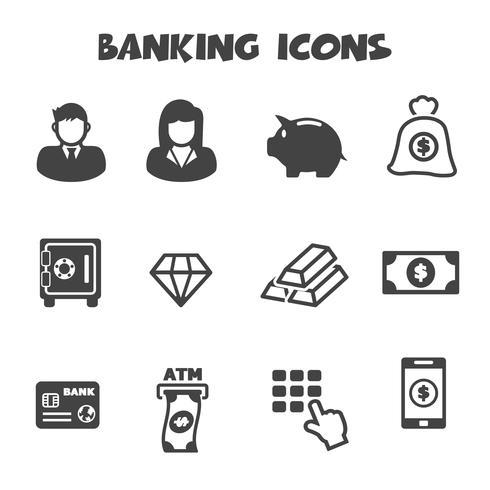 símbolo de ícones bancários vetor