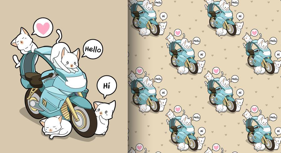 Naadloze kawaiikatten en blauw motorfietspatroon