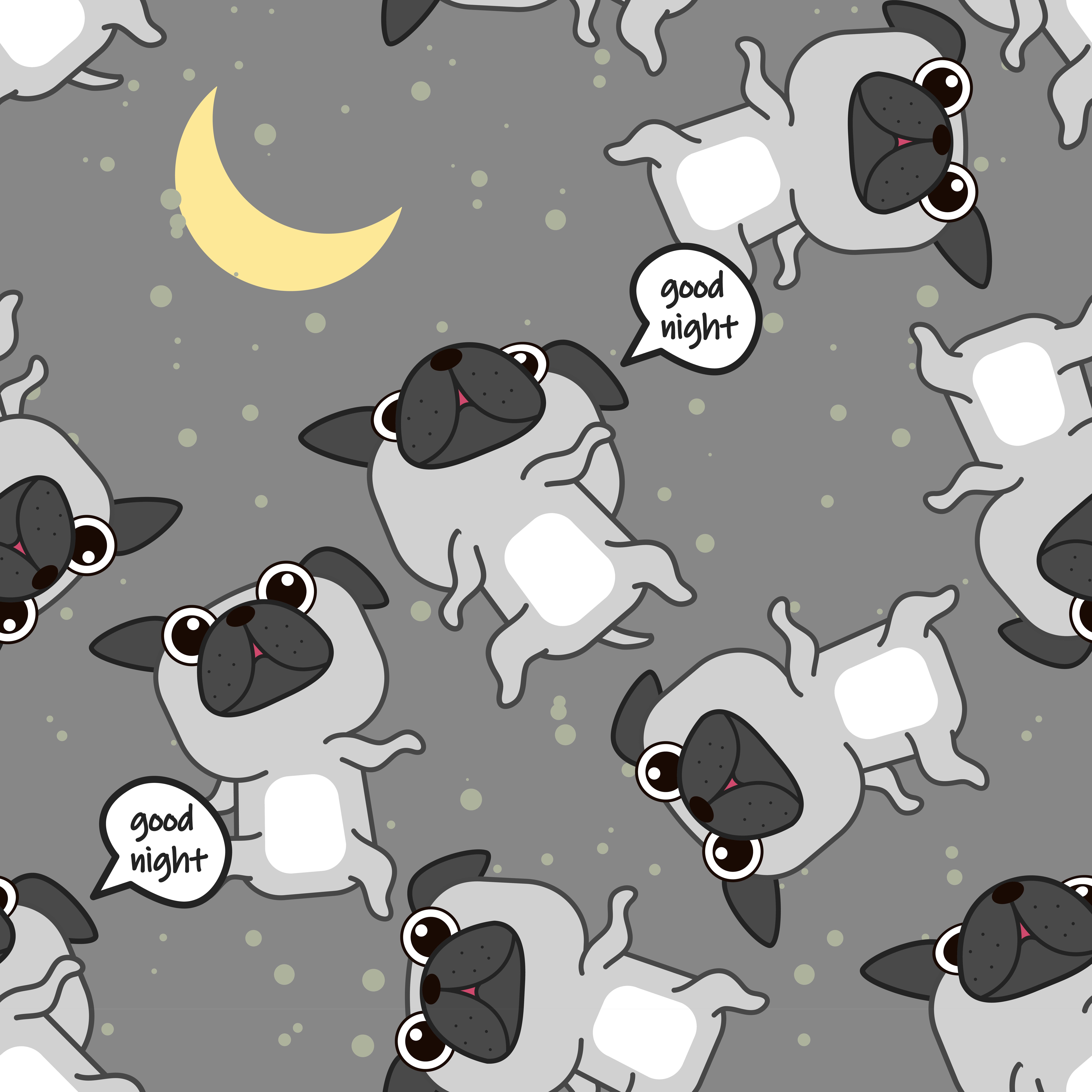 Seamless Pug Dog Is Sleeping Pattern.
