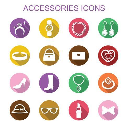 accesorios larga sombra iconos vector
