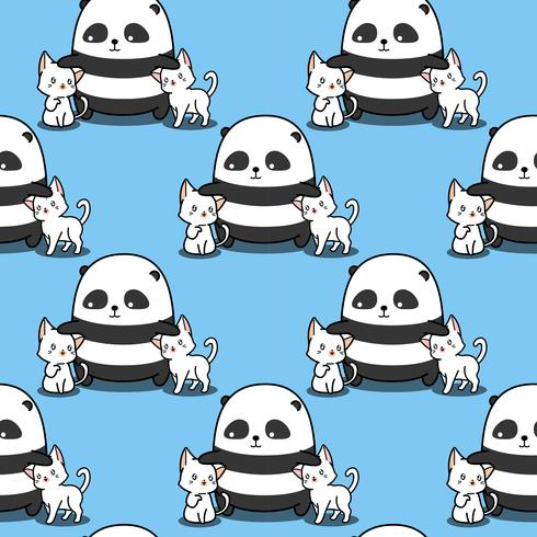 Sömlös panda älskar kattmönster.