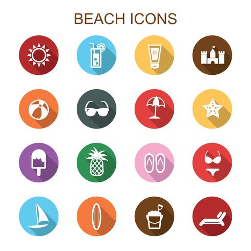 iconos de playa larga sombra