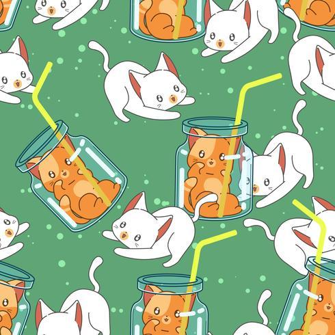 Seamless cute cat in summer pattern. vector