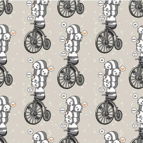 Seamless kawaii panda with the vintage bicycle pattern vector