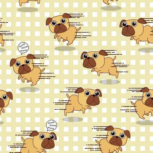 Seamless dog is running pattern. vector
