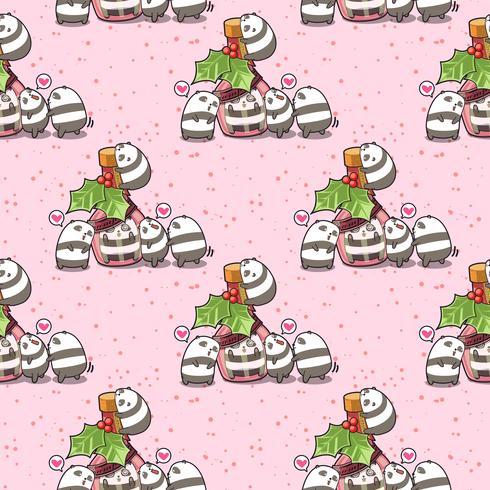 Sömlös kawaii panda i flaskan och vänners mönster vektor