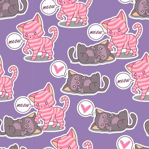 Sömlös vänskap med 2 katter mönster. vektor