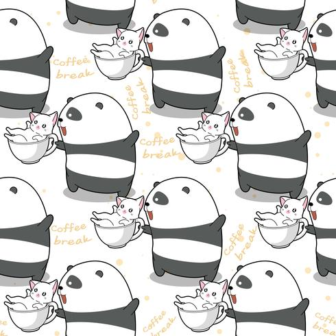 Naadloze panda en kat op tijd om patroon te ontspannen.