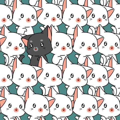 Seamless cute cat pattern. vector