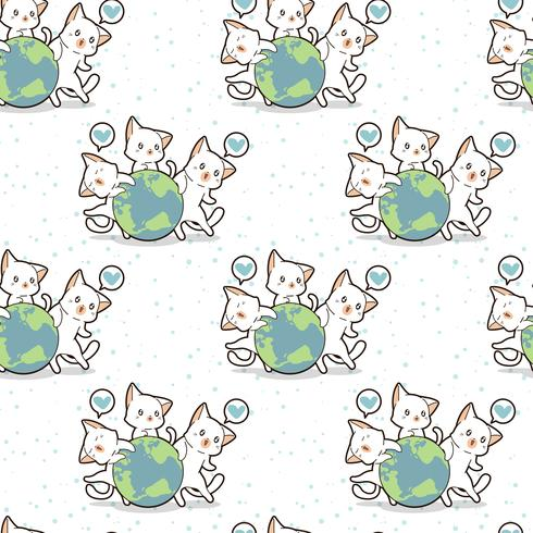 Seamless 3 kawaii cats love the world pattern