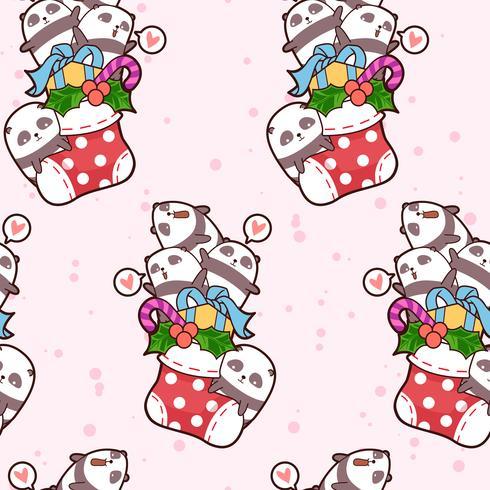 Seamless Kawaii Happy Pandas är i ett sockermönster