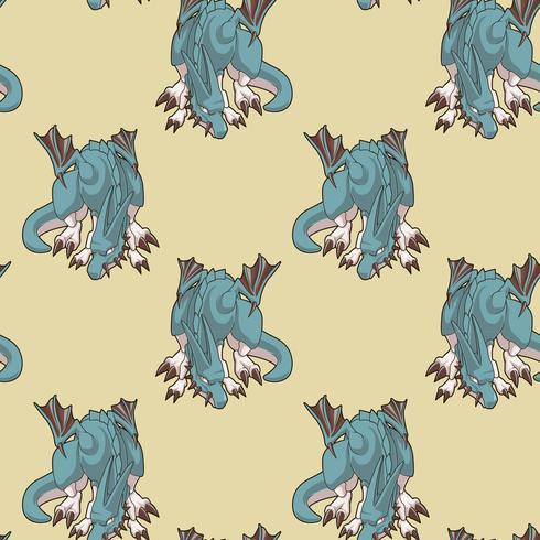 Carácter de dragón inconsútil en patrón de estilo de dibujos animados