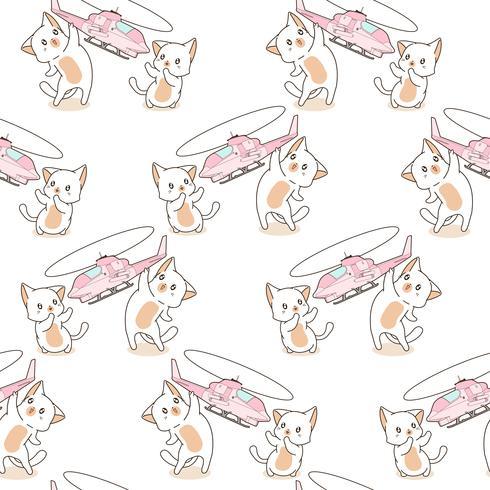 Sem costura 2 gatos kawaii estão jogando padrão de brinquedo de helicóptero. vetor
