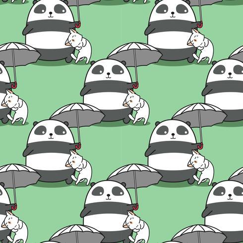 Seamless panda carrying umbrella with a cat pattern.