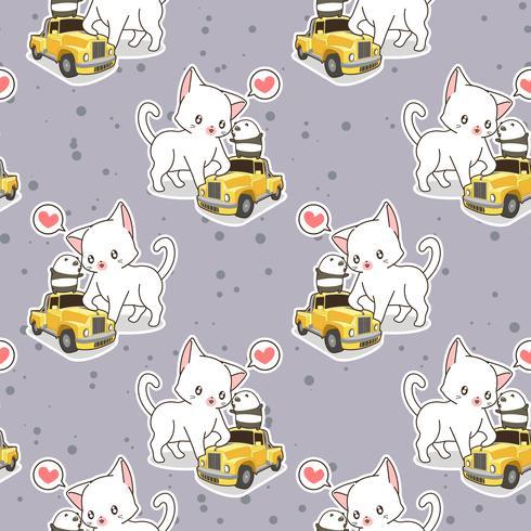 Gato kawaii sem costura com padrão de carro amarelo pequeno vetor
