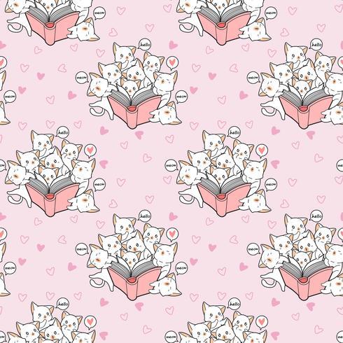I gatti kawaii senza cuciture adorano un modello di libro