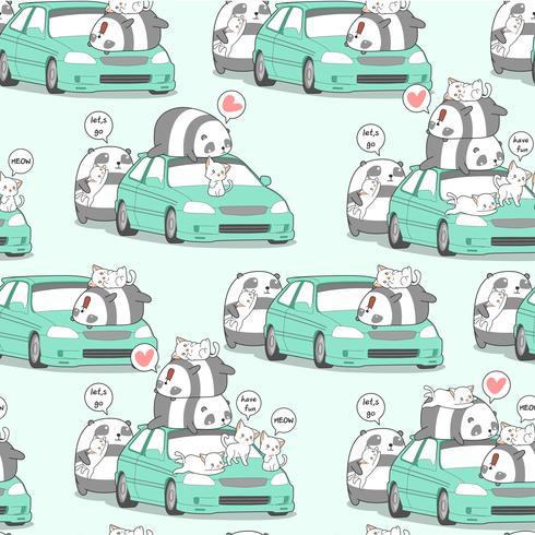 Panda y gatos inconsútiles del kawaii con el coche en modelo del día de fiesta.