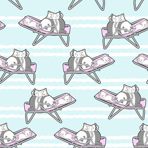 Sömlös panda och katter på vagga mönstret.