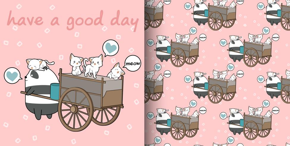 Seamless kawaii cats and panda with freight vehicle pattern vector