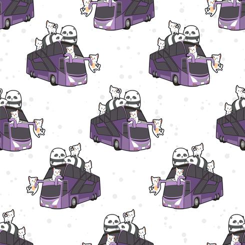 Seamless kawaii cats and pandas on bus pattern vector