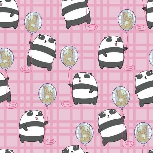 Seamless panda is holding cat in the balloon pattern.