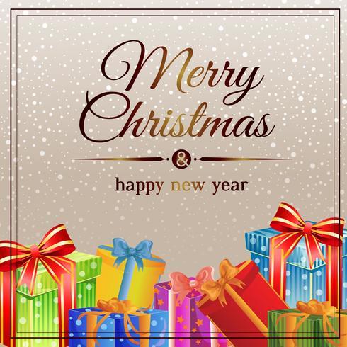 cartão de Natal neve dourada com caixa de presente