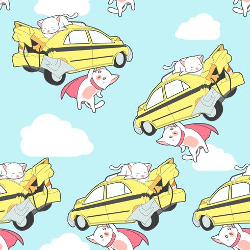 Seamless super cat is lifting the car pattern. vector