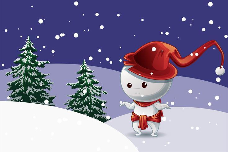 Carácter del hombre de la nieve con el sombrero rojo en festival de la Navidad en nieve con el fondo de los árboles. vector
