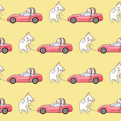 Den sömlösa tecknade kawaiikatten hänger med ett rosa sportbilmönster. vektor