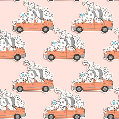 Nahtlose süße Katzen und Panda mit Auto Muster.